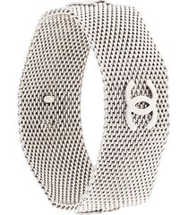 chanel pre-owned 1996 cc mesh panel bracelet - silver