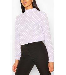 polka dot high neck blouse, purple