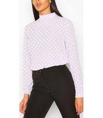 polka dot high neck blouse