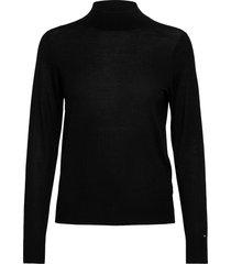wool silk mock-nk sweater ls stickad tröja svart tommy hilfiger
