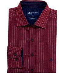 camisa dudalina manga longa fio tinto lisa e listrada masculina (azul marinho, 6)