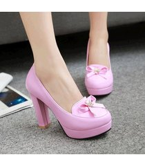pp421 sweet bowtie pumps, square heels, pu leather , size 4-10, pink violet
