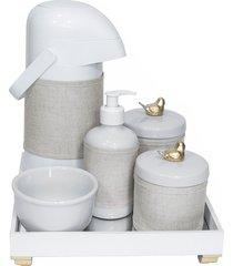 kit higiene espelho completo porcelanas, garrafa e capa passarinho dourado quarto bebê unissex