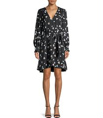 flower-print belted wrap dress