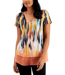 jm collection petite printed chiffon-hem top, created for macy's