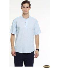 camiseta manga corta gaupucean para hombre-azul