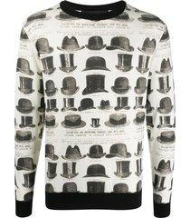 viktor & rolf hat-print crew neck jumper - white