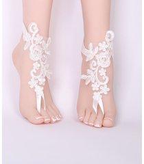 lace barefoot sandalias de playa blanca pulsera para el tobillo joyas