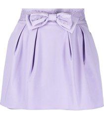 elisabetta franchi bow-detail lace-trim shorts - purple