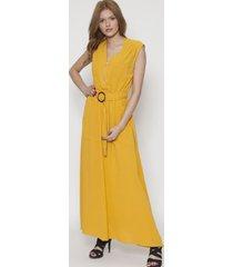 vestido largo con cierre amarillo 609seisceronueve