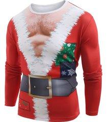 funny santa muscle clothes print christmas t-shirt