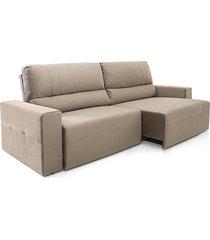 sofá 4 lugares herval village retrátil e reclinável, bege acinzentado