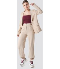 na-kd drawstring detail pants - beige