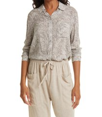 rails josephine snake print long sleeve button-up blouse, size x-small in grey snake at nordstrom