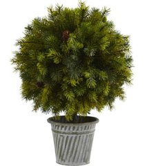 "nearly natural 18"" pine ball in iron top"