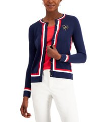 charter club petite embroidered striped cardigan, created for macy's