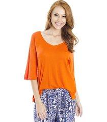 blusa ampla tricot decote v cantão feminino