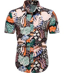 leaf alga print button up beach shirt