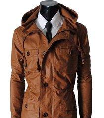 mens hooded leather jacket,men brown hooded jacket, cargo pocket jacket