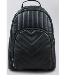 mochila feminina pequena com bolso em matelasse preta