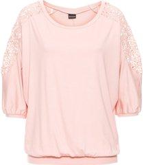 maglia oversize con pizzo (rosa) - bodyflirt