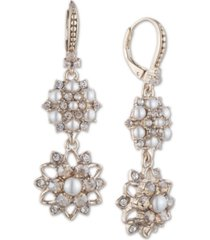 marchesa gold-tone crystal & imitation pearl cluster double drop earrings