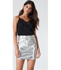 kristin sundberg for na-kd metallic skirt - silver