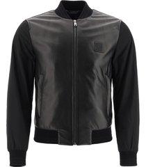 dolce & gabbana leather and nylon bomber jacket