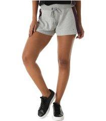 shorts oxer vintage - feminino - cinza cla/rosa cla