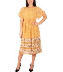 women's short flutter sleeve border print dress