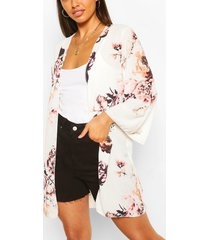 floral print wide sleeve kimono, ivory