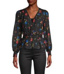 the kooples women's silk floral & swiss dot peplum top - black multi - size 1 (s)