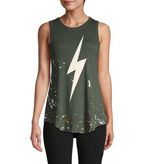 distressed graphic cotton tank top