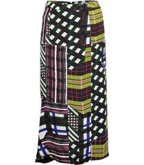 skyline print asymmetric skirt