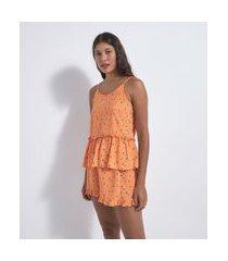 pijama short soll em viscose com babado estampa floral   lov   amarelo   gg
