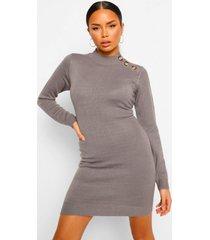 gebreide jurk met knopen, grey