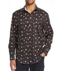 tallia men's slim fit dandelion print shirt and a free face mask