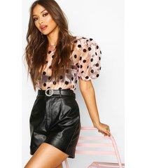 organza polka dot puff sleeve top, blush