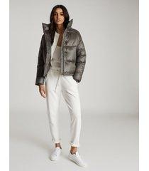 reiss freja - cropped puffer jacket in khaki, womens, size l