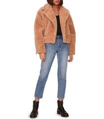 shaci women's faux fur teddy jacket - tan - size l