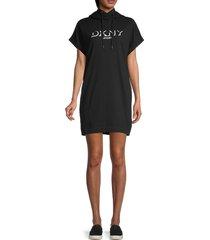 dkny sport women's drop shadow logo hooded mini dress - pearl grey - size l