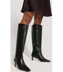 na-kd shoes boots med fyrkantig, lång tå och skaft - black