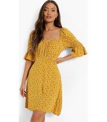 bloemenpatroon skater jurk met vierkante hals, mustard