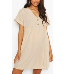 maternity button front linen smock dress, stone