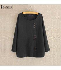 zanzea mujer de manga larga sólido de algodón de lino casual de las señoras blusas holgada tops camisas -negro