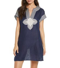 women's tory burch embroidered cover-up tunic, size x-large - blue