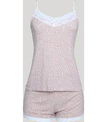 short doll feminino estampado animal print com renda alça fina rosa