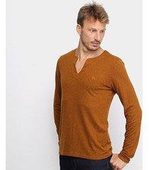 blusa acostamento gola v manga longa masculina