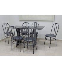 conjunto cozinha verona 1,40 com granito c/6 cadeiras milla açomix