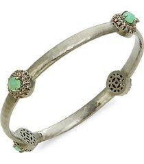 black rhodium-plated sterling silver, chrysoprase & diamond bangle bracelet